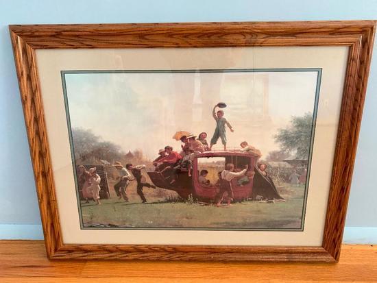 Oak Framed Print Of Children Playing