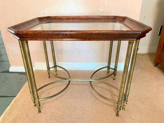 End Table W/Beveled Glass Top