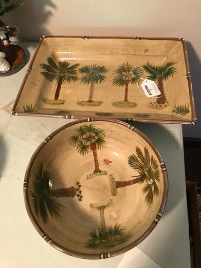 Bora Bora Serving Platter & Bowl W/Palm Tree Design