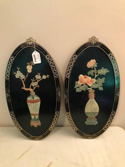 (2) Oriental Faux Jade/Soapstone Framed Wall Hangings