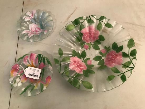 3-Pc. Hand Painted Glass Bowls