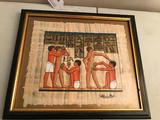 Framed Egyptian Painting On Papyrus Paper