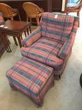 Etan Allen Upholstered Arm Chair W/Ottoman