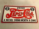 Contemporary Pepsi-Cola Embossed Metal Sign