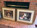 (2) Contemporary Cat Prints By Henrietta Ronner In Matching Frames