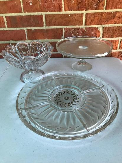 Glass Cake Plate, Dish and Divided Dish