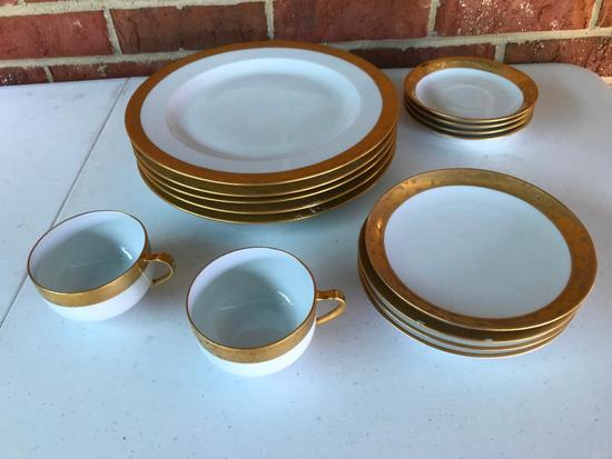Service for 4 of Gold Overlay Dishes