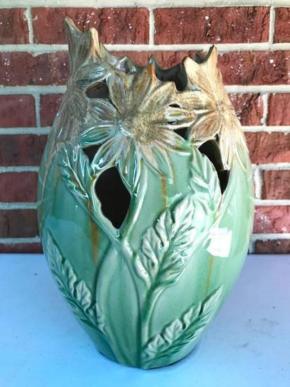 Green and Tan Open Lattice Vase, 14 Inches Tall