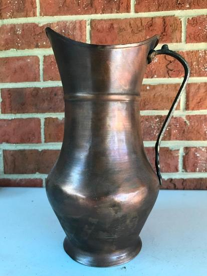 Copper Water Pitcher, 10 Inches Tall