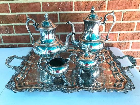 Silver Over Copper Tea Set On Tray