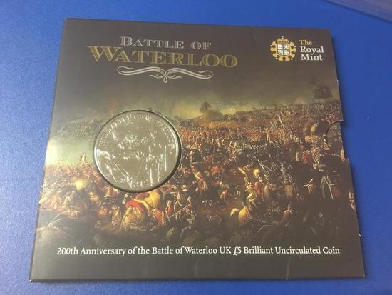Battle of Waterloo, 200th Anniversary US L5 Brilliant, Uncirculated Coin in Case