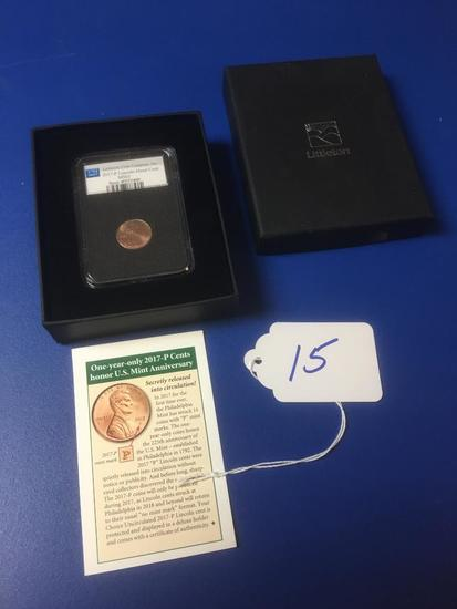 LIttleton Coin Co., Inc. Certified 2017 P Lincoln Head Cent in Case
