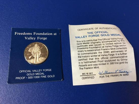 1977 Foundation at Valley Forge, Official Valley Forge Gold Medal Proof, 500/1000 Fine Gold