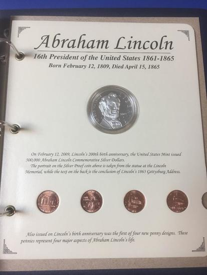 The Abraham Lincoln, Silver Proof Coin and Four, 2009 Pennies