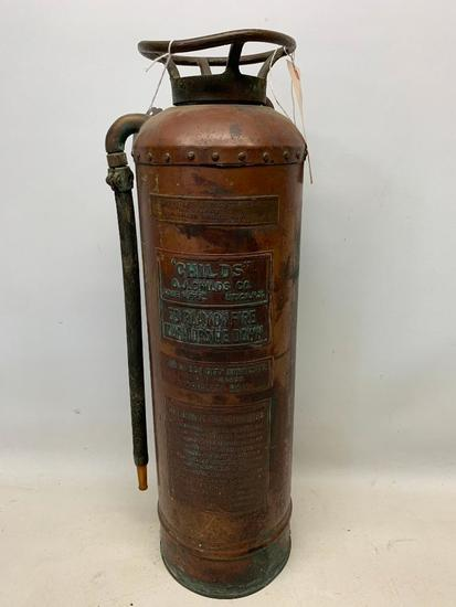 """Vintage """"Childs"""" Brass & Copper Fire Extinguisher"""