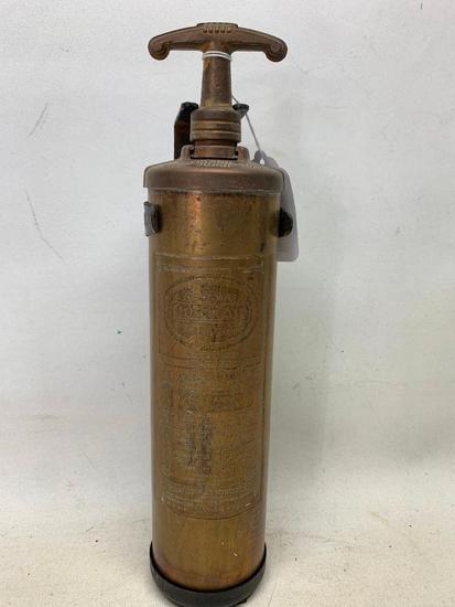 "Vintage ""General Quick Aid"" Brass Fire Extinguisher W/Wall Bracket"