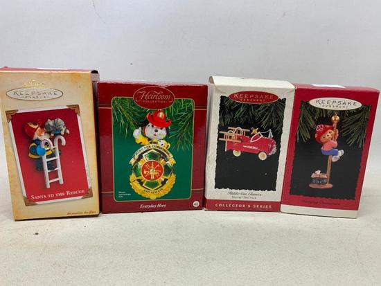 (4) Hallmark Keepsake Ornaments (In Boxes) W/Fire Fighter Theme
