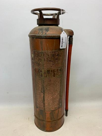 """Vintage """"Phister Soda Acid"""" Copper & Brass Fire Extinguisher"""