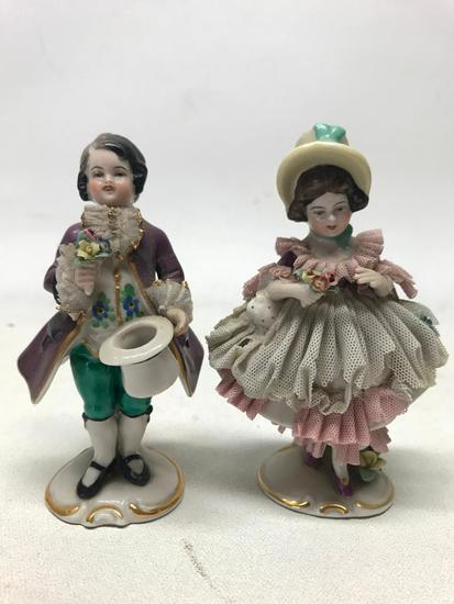 (2) Vintage German Dresden Art Figurines