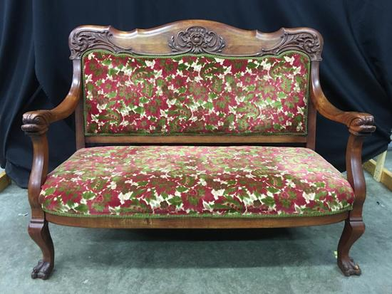 Antique Parlor Settee W/Carved Fish Heads & Claw Feet