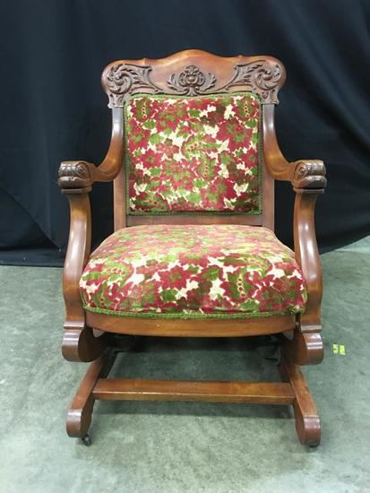Antique Parlor Chair W/Carved Fish Heads & Claw Feet
