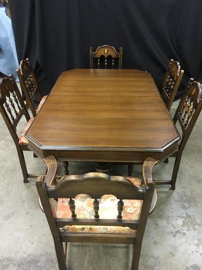 1930's Vintage Berkey & Gay Table, (6) Chairs, & (3) Leaves