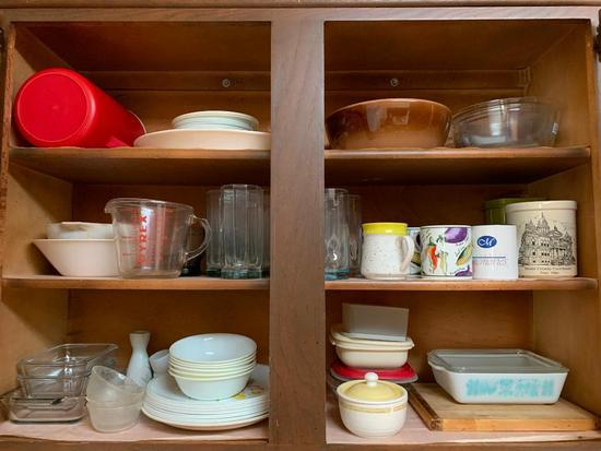 Kitchen Cabinet Group W/Glasses, Cups, Pyrex, & More!
