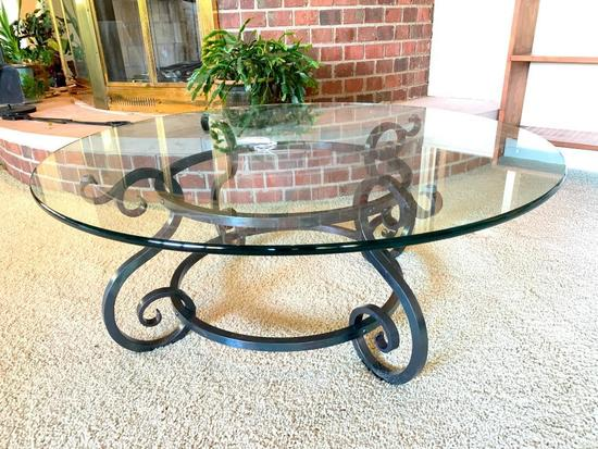 Custom Wrought Iron Table W/Plate Glass Top-Made By Mr. Peot!