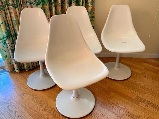 (4) 1960's Plastic Pedestal Swivel Chairs
