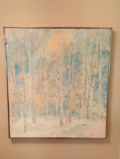 """Original Oil On Canvas Of birch Trees Signed By """"Couture Waskiewicz"""""""