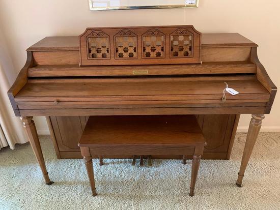 Wurlitzer Upright Piano W/Matching Bench In Walnut