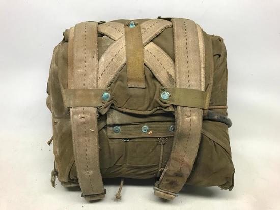 WW II AN 6510 Seat Parachute In Canvas Bag