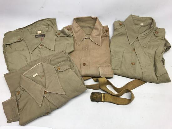 (4) WW II Officers Shirts & Belt