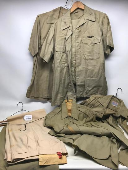 (4) WW II Military Shirts & (2) Pair Of Pants