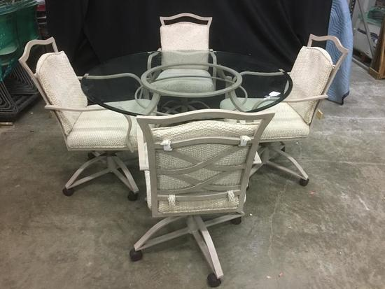 Tan, Metal and Glass Top Table and 4 Chairs