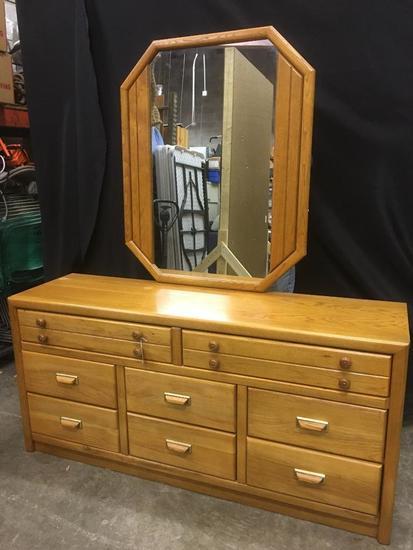 Bassett Oak Finish Dresser with Mirror