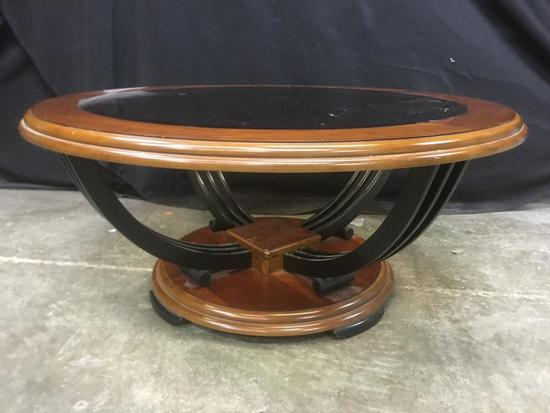 Wood, Metal and Glass Coffee Table