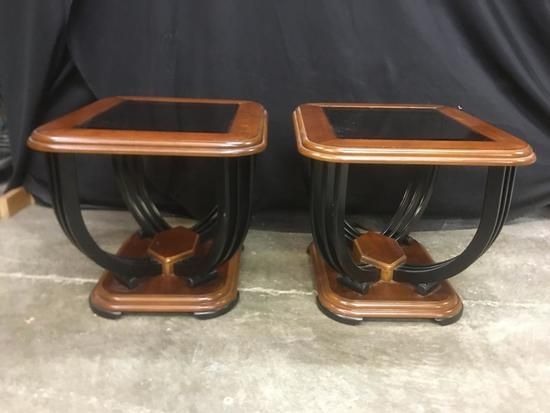 Pair of Wood, Metal and Glass End Tables