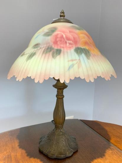 Contemporary Table Lamp W/Reverse Painted Glass Shade