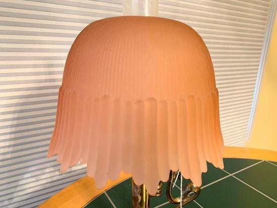 Vintage Bedroom Lamp W/Pink Glass Shade