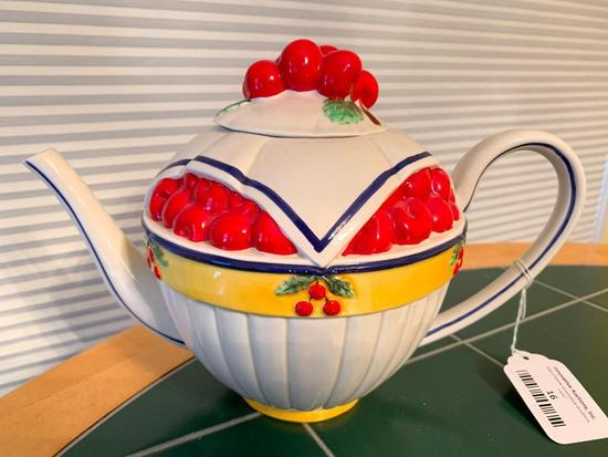 Teapot W/Embossed Cherries By Dept. 56