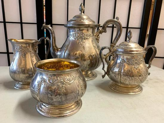"""(4) Pc. International Sterling Hand Chased Tea Service """"Prelude"""" Pattern"""
