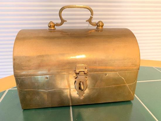 Nice Brass Domed Box W/Handle
