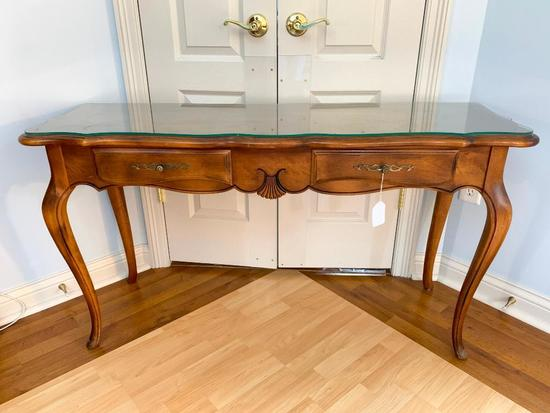 Ethan Allen French Country Console Table W/Plate Glass Protector