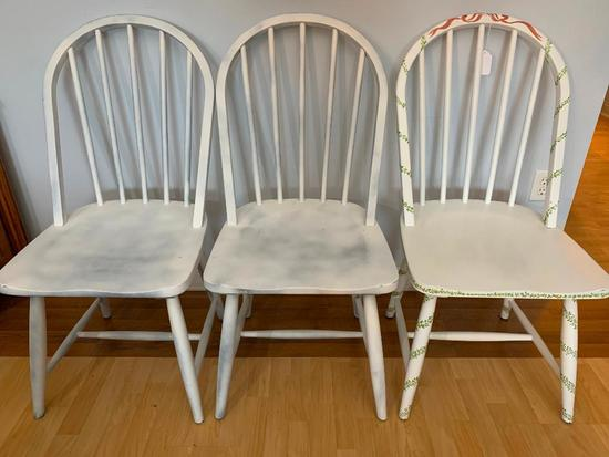 (3) Wooden Chairs Painted White