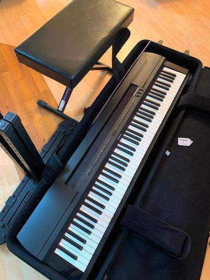 Yamaha P-255 Digital Piano In Carrying Case W/Stand & Seat & Charger