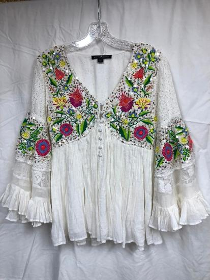 Boston Proper Embroidered & Sequin Shirt