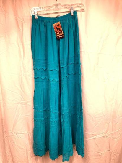 Lobas Del Mar Linen Embroidered Palazzo Pants W/Pocket