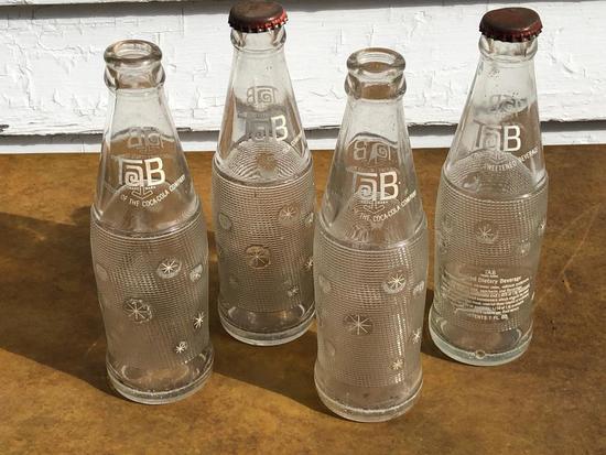 """(4) Vintage Glass """"Tab"""" Bottles"""