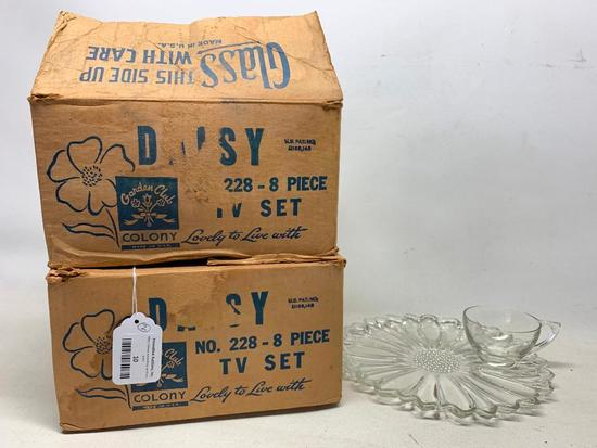 (2) Colony Glass TV Snack Sets In Original Boxes